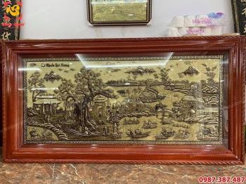 Tranh đồng Cội Nguồn Quê Hương xước giả cổ đẹp hoàn hảo trang trí phòng khách..!