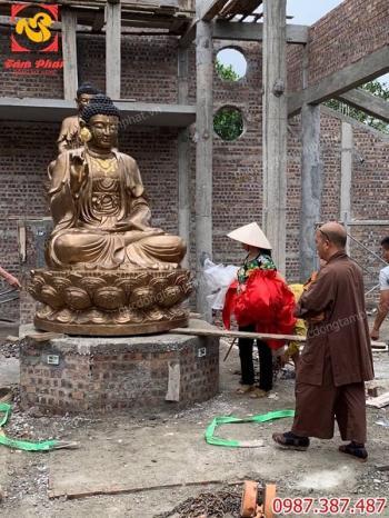 Lắp đặt tượng Phật Adida bằng đồng đỏ cao 2m cho chùa Hà Tĩnh..!