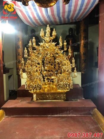 Thếp vàng 9999 toà Cửu Long bằng đồng cao 1m7 cho chùa Diên Phúc tuyệt đẹp..!