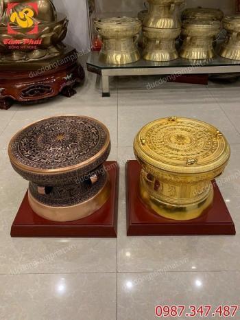 Trống đồng mạ vàng và trống đồng đỏ giá rẻ đường kính 30cm bàn giao cho khách..!