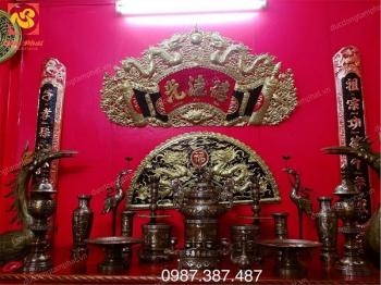 Bộ đồ thờ bằng đồng cao 60cm khảm ngũ sắc lắp đặt tại Sở văn hóa tỉnh Vĩnh Phúc..!