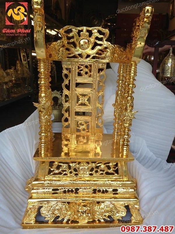 Ngai thờ bằng đồng đỏ đúc nặng 90kg cao 81cm mạ vàng 24k