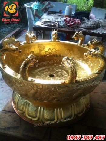 Đúc chậu đồng tắm Phật cực tinh xảo đường kính miệng 50cm..!