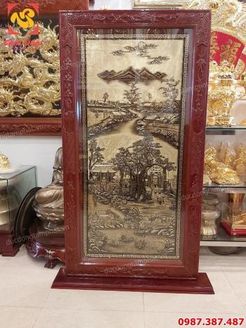 Bức Bình Phong bằng đồng kích thước 1m7 cảnh gợi nhớ quê hương khung gụ tuyệt đẹp..!