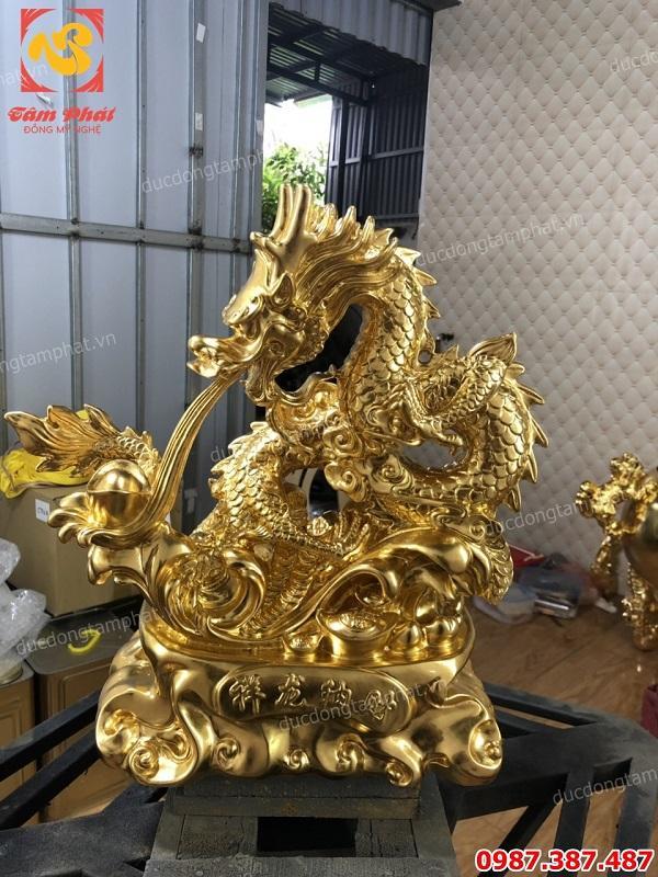 Linh vật phong thuỷ rồng thiếp vàng 9999 cao 40cm mang tài lộc phú quý