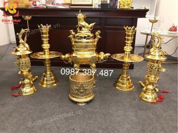 Bộ đồ thờ bằng đồng cao 75cm mạ vàng 24k đúc theo làng nghề Phước Kiều tuyệt đẹp..!