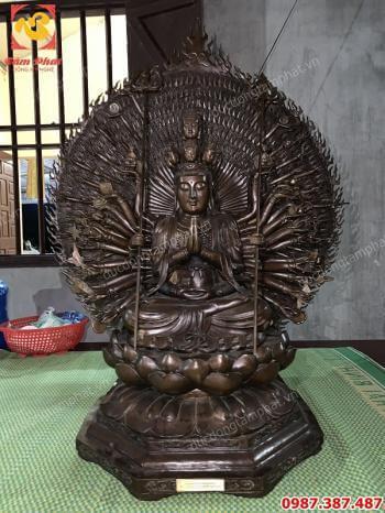 Tượng Phật thiên thủ thiên nhãn cao 1m3 cực đẹp giao cho chùa Thanh Vân - Quảng Ninh