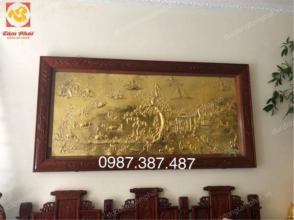 Tranh đồng Vinh Quy Bái Tổ kích thước 2m8 mạ vàng 24k khung gỗ gụ