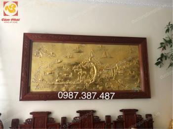 Tranh đồng Vinh Quy Bái Tổ kích thước 2m8 mạ vàng 24k khung gỗ gụ tuyệt đẹp
