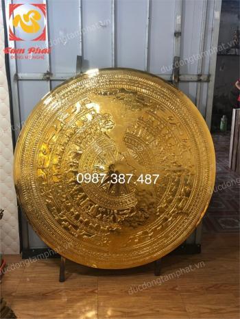 Tranh mặt trống đồng đường kính 1m27 bản đồ Việt Nam mạ vàng 24k cực sang..!