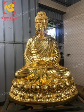 Đúc tượng Phật Thích Ca Mâu Ni cao 70cm bằng đồng mạ vàng 24k