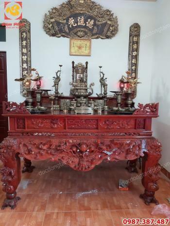 Bộ đồ thờ bằng đồng đầy đủ giá xưởng lắp đặt tại Phúc Thọ- Hà Nội