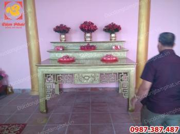 Đúc bàn thờ bằng đồng nguyên chất lắp đặt tại Hải Phòng dài 1m97 tuyệt đẹp..!