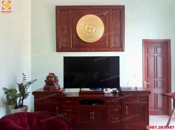 Mặt trống đồng đường kính 1m thếp vàng 9999 khung gỗ gụ lắp đặt khách tại Nam Định..!