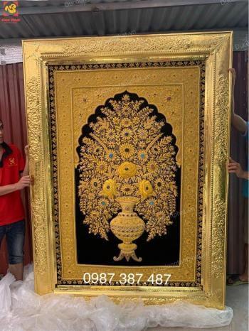Trang trí tranh đồng thếp vàng 9999 cho nền vải lụa đá quý...!