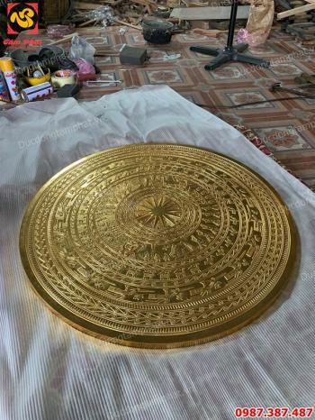 Mặt trống đồng đúc đường kính 1m thếp vàng 9999 đã hoàn thành cho khách hàng..!