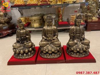 Tượng Phật Tây Phương tam thánh cao 48cm giả cổ tuyệt đẹp..!
