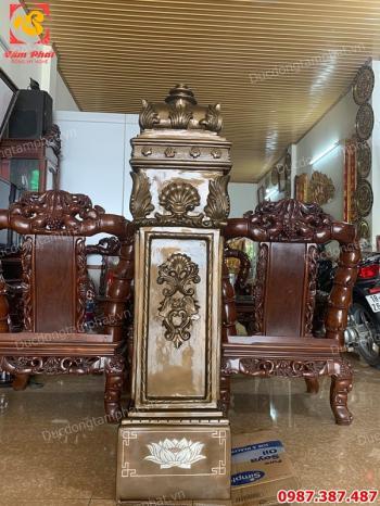 Đúc trụ cầu thang bằng đồng chạm hoa văn tinh xảo cao 1m45 cho biệt thự chú Dũng Trương Định..!