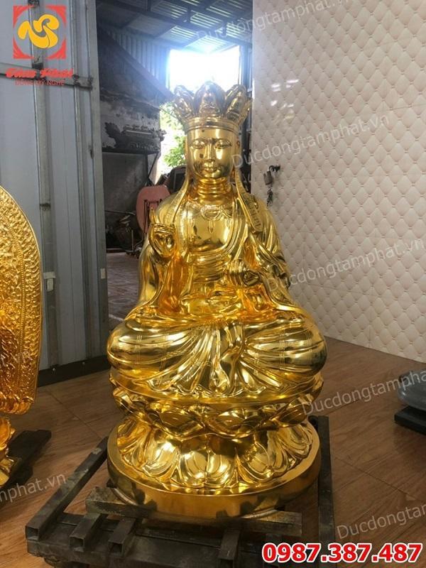 Tượng Phật Địa Tạng bằng đồng cao 90cm mạ vàng 24k cho chùa Sùng Tích