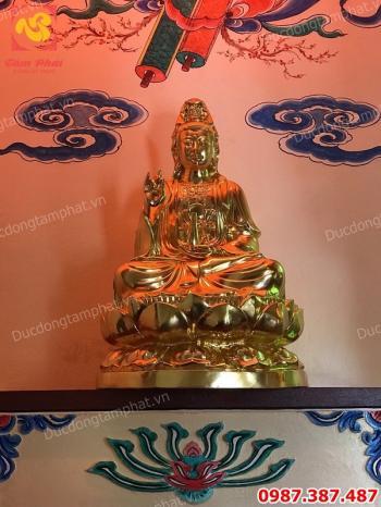 Tượng Phật Quán Thế Âm Bồ Tát cao 1m08 thếp vàng 9999 giá xưởng..!