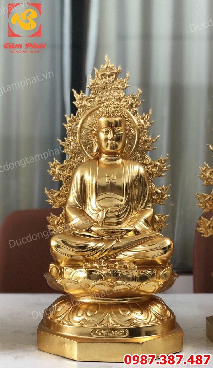 Bộ tượng Dược Sư bằng đồng cao 48cm đúc đồng đỏ và thếp vàng 9999 cực đẹp