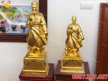 Tượng Đức Thánh Trần bằng đồng thếp vàng 9999