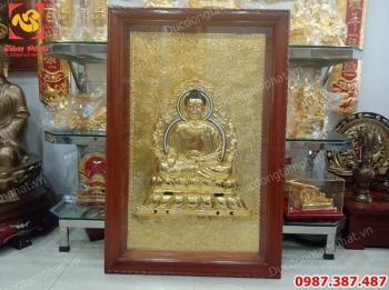 Tranh tượng Phật A Di Đà bằng đồng mạ vàng 24k kích thước 80cm x 1m2 tuyệt đẹp..!