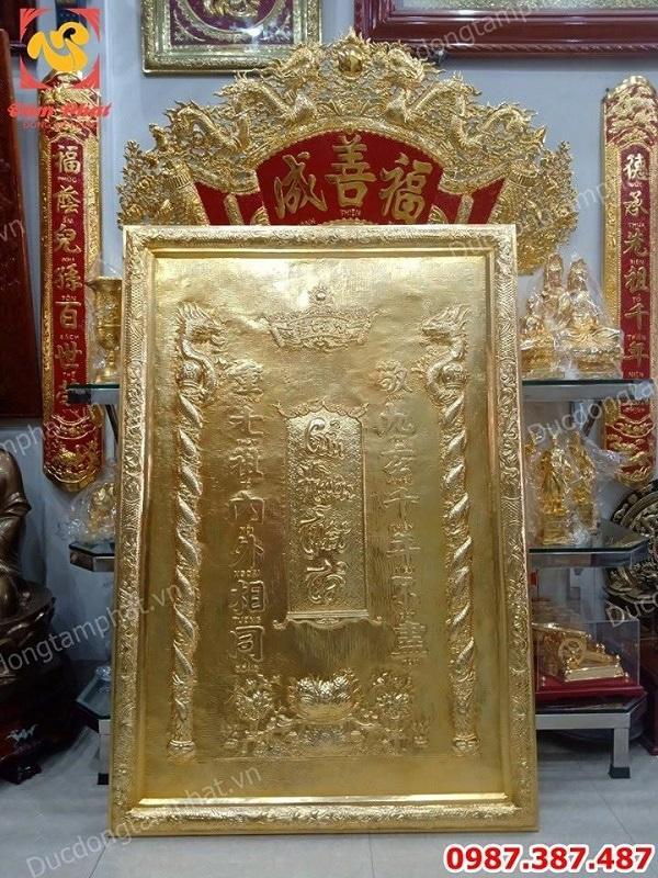 Tranh Cửu Huyền Thất Tổ bằng đồng mạ vàng 24k kích thước 1m x 1m47