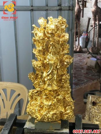 Tượng Quan Âm tọa cửu long cao 40cm thếp vàng 9999 tuyệt đẹp..!