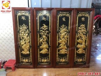 Tranh đồng tứ quý Tùng Cúc Trúc Mai 40cm x 1m2 thếp vàng 9999 tuyệt đẹp khung gỗ..!