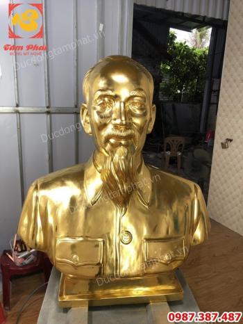 Tượng đồng Bác Hồ cao 90cm thếp vàng 9999!!!