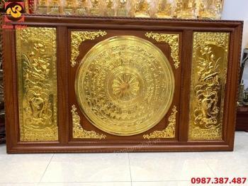 Tranh mặt trống đồng 2m3 mạ vàng 24k khung gỗ đã hoàn thiện và lắp đặt cho khách..!