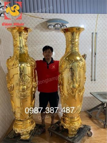 Đôi lọ Lộc Bình cao 1m73 đúc nổi Rồng Phượng mạ vàng 24k tuyệt đẹp..!