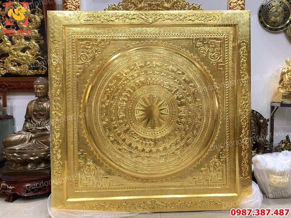 Mặt trống đồng đường kính 1m55 đúc liền khối mạ vàng 24k tuyệt đẹp..!