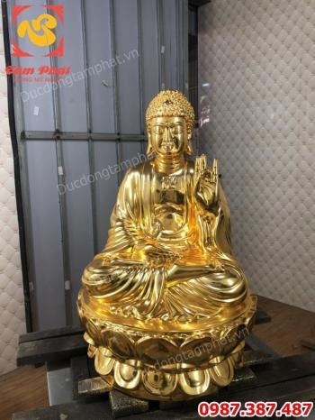 Tượng tam thế Phật bằng đồng mạ vàng cao 60cm..!