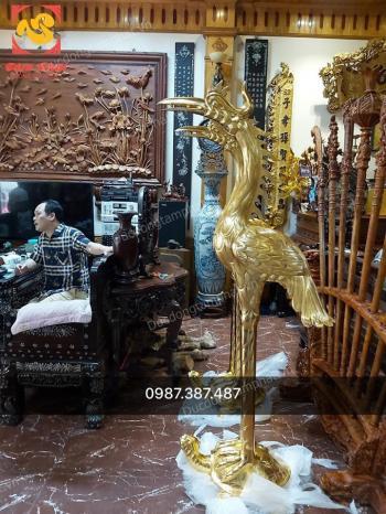 Đôi hạc đồng đỏ cao 1m97 thếp vàng đã bàn giao nhà chú Tiến Bắc Ninh..!