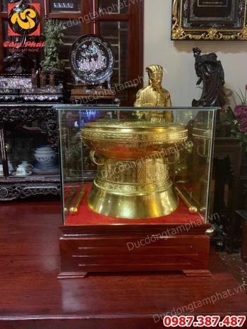 Trống đồng dát vàng lắp đặt và bàn giao cho khách Bắc Ninh