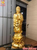 Bộ Tây Phương tam thánh bằng đồng dát vàng cao 90cm chuyển sang Hà Lan