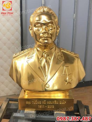 Tượng đồng Đại tướng Võ Nguyên Giáp, tượng Bác Giáp cao 48cm dát vàng 9999 cho công an Quảng Bình.!