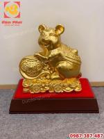 Chuột phong thủy, linh vật chuột năm 2020 bằng đồng dát vàng.!