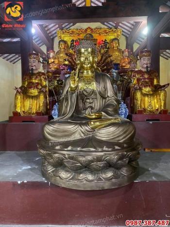 Lắp đặt tượng Phật Adida tại chùa động cao 1m5 dát vàng điểm..!
