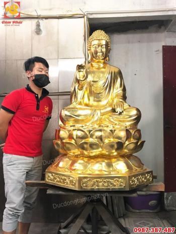 Hoàn thành tượng Phật dát vàng tuyệt đẹp và bàn giao cho chùa.!