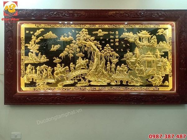 Tranh Vinh Quy Bái Tổ 1m7 khung gỗ gụ dát vàng 9999 tuyệt đẹp
