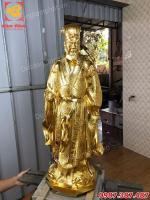 Tượng Khổng Minh Gia Cát Lượng cao 75cm dát vàng 9999 cực tinh xảo.!