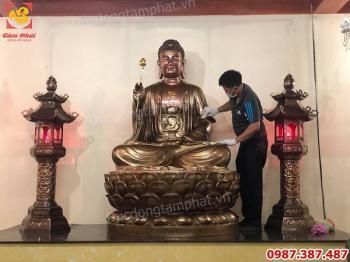 Thi công lắp đặt tượng Phật Adida cao 2m cho chùa thành công viên mãn.!