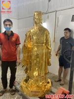 Tượng đồng Khổng Minh cao 1m7 mạ vàng - bàn giao cho khách Hải Dương