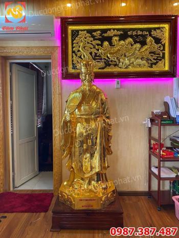 Tượng đồng Khổng Minh cao 1m7 mạ vàng - bàn giao cho khách Hải Dương.!