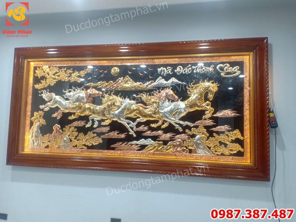 Tranh Bát Mã Truy Phong mạ vàng, mạ bạc - kích thước 2m95 x 1m45