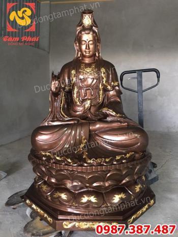 Tượng Phật Quán Âm Bồ Tát cao 1m5 nặng 500kg đúc đồng đỏ điểm vàng 9999