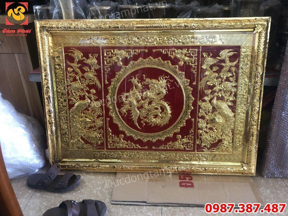 Tranh Đồng chữ Phúc Hóa Rồng khung đồng mạ vàng giao công an Lâm Đồng